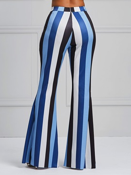 Striped Color Block Women's Casual Bellbottoms