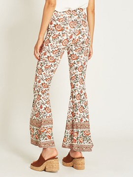 Floral Print Casual Women's Bellbottoms