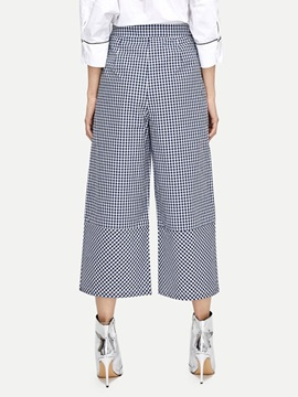 Plaid High Waist Women's Cropped Casual Pants