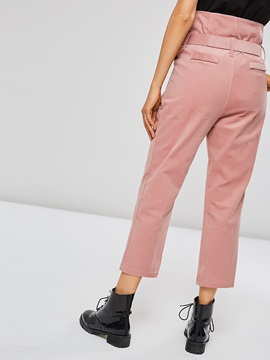 Frill Waist Pocket Slim Fit Women's Casual Pants
