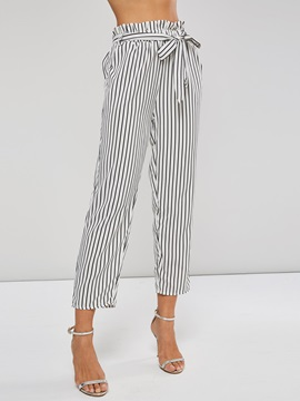 Stripe Lace-Up Women's Harem Pants