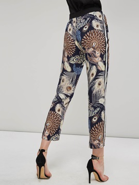 Floral Print Side Striped Women's Casual Pants