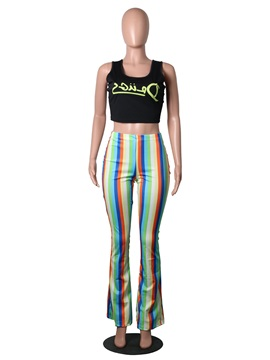Slim Striped Thin Bellbottoms Women's Casual Pants
