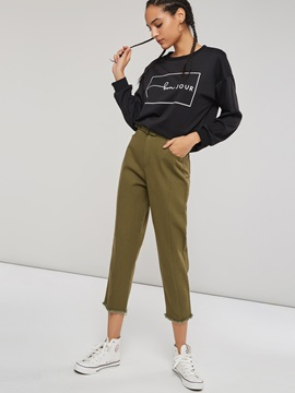 Army Green Belted Women's Casual Pants