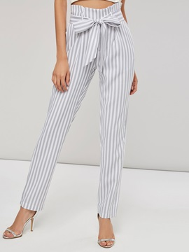 Striped Belt High Wasit Women's Casual Pants