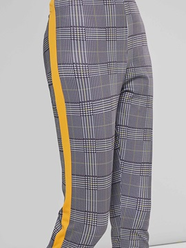 Slim Plaid Gingham Side Stripe Women's Casual Pants