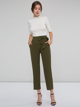 Army Green Lace-Up Slim Fit Women's Casual Pants