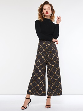 Color Block Loose Full Length Women's Casual Pants