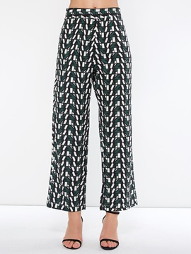 Color Block Loose Ankle Length Print Women's Casual Pants