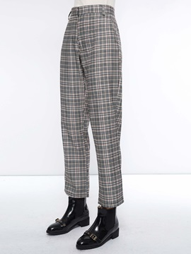 Loose Plaid Straight Women's Casual Pants