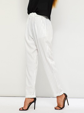 Stripe Loose Elastics High Waist Women's Casual Pants
