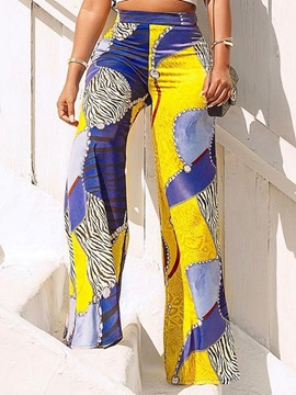 Color Block Slim Print High Waist Wide Legs Women