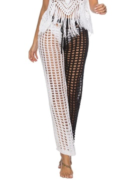 Loose Hollow Color Block Straight Full Length Women's Casual Pants