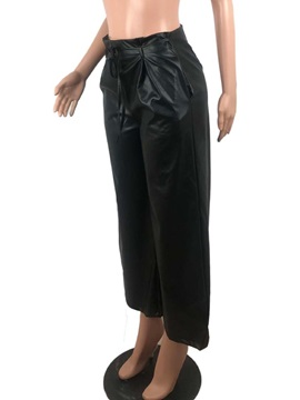 Plain Loose Wide Legs Pu Full Length Women's Casual Pants