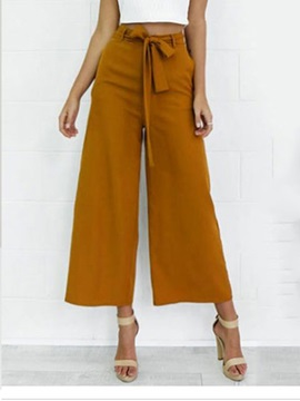 Loose Plain Bowknot Ankle Length Women's Casual Pants
