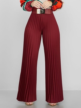 Plain Pleated Loose High Waist Full Length Women's Casual Pants