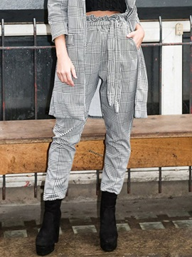Stringy Selvedge Slim Houndstooth Ankle Length Harem Pants Women's Casual Pants