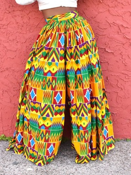 Print African Fashion Color Block Loose Full Length Wide Legs Women's Casual Pants