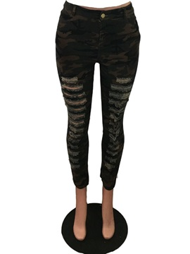 Camouflage Skinny Hole Full Length Pencil Pants Women's Casual Pants