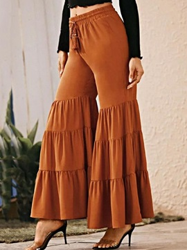Plain Pleated Loose Bellbottoms Full Length Women's Casual Pants