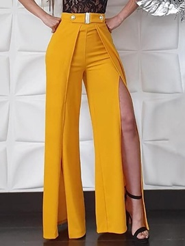 Split Slim Full Length High Waist Women's Casual Pants