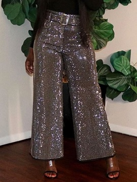 Plain Sequins Loose High Waist Full Length Women's Casual Pants