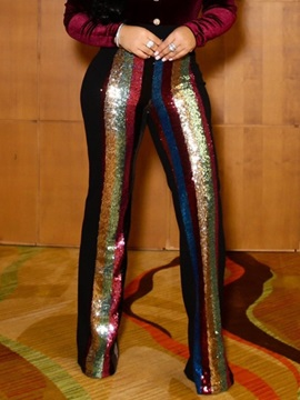 Color Block Sequins Slim Full Length Women's Casual Pants