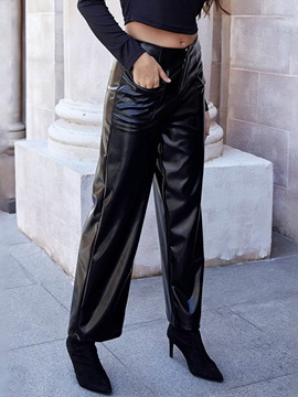 Plain Loose Mid Waist Wide Legs Women's Casual Pants
