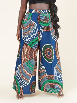 Loose Color Block Print Wide Legs High Waist Women's Casual Pants