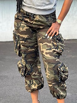 Pocket Loose Camouflage Mid-Calf Women's Casual Pants