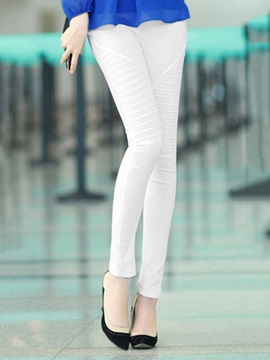 White Mid Waist Casual Pants