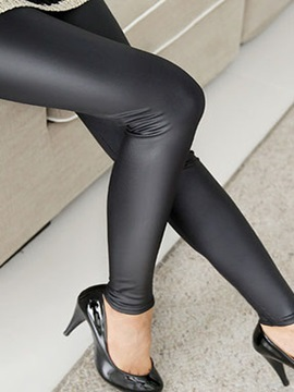 Autumn Plus Size Metallic Faux Leather Black Seamed Legging