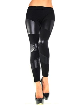 Delicate PU Patchwork Slim Leggings