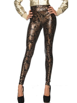 Chic Polyester Snake-Embossed Leggings