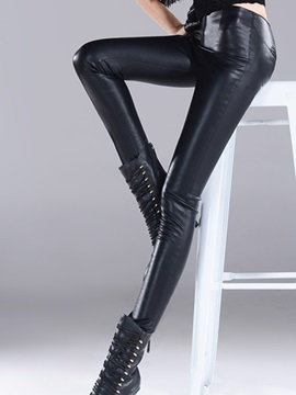 Glamour PU Zip-Front Leggings