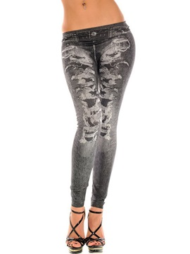 Mid-Waist Polyester Thread Tie-Dye Worn Leggings