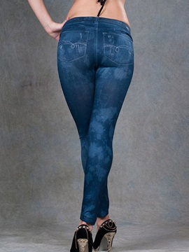 Slimming Mid-Waist Worn-out Leggings