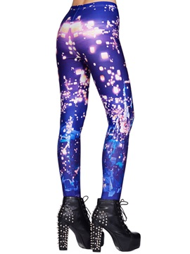 Skinny Multicolor Printing Elastic Leggings