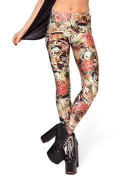 Mid-Waist Polyester Multicolor Printing Leggings