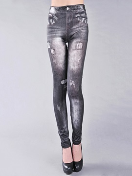 Stylish Frayed Destroy Pencil Leggings