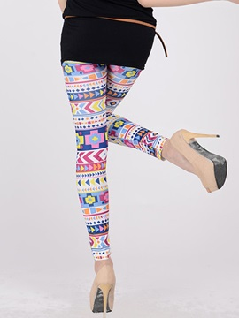 Colored Geometrical Printing Ninth-Length Leggings