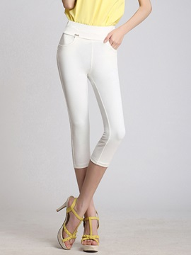 Solid Color Cropped Leggings