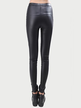Black Leather Lace Patchwork Leggings