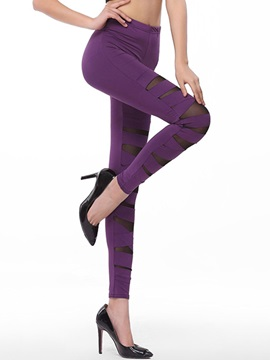 Solid Color Ripped Patchwork Leggings