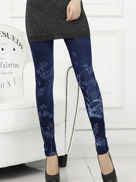 Slim Floral Printing Denim Leggings
