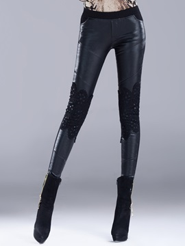 Black Lace Leather Patchwork Slim Leggings