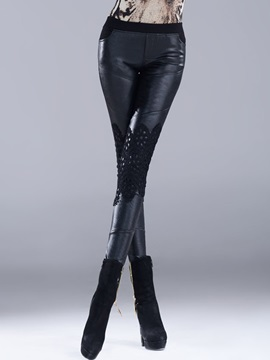 Black Lace Leather  Slim Leggings