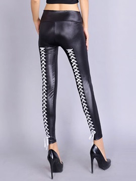 Plain High-Waist Polyester Winter Leggings
