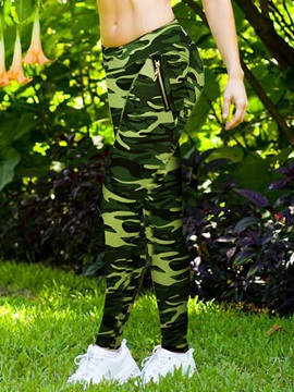 Camouflage Printed Zipper Patchwork Slim Leggings