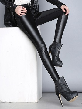 Black Leather Patchwork Slim Leggings